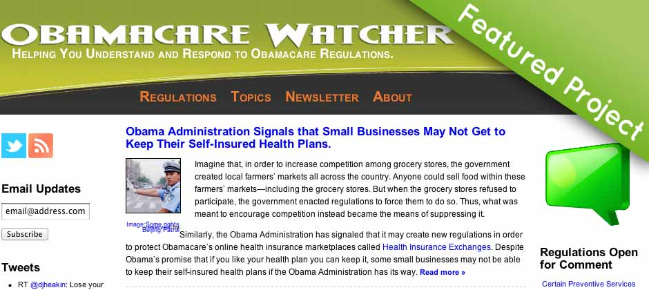 Featured Project - Obamacare Watcher